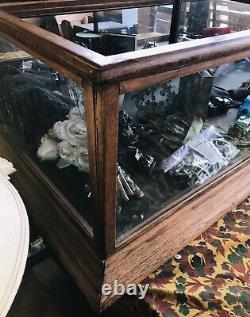 Antique, General Store, Oak 6 Showcase Display Case. Very Sturdy W Slide Backs