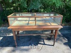 Antique General Store Oak & Glass Mirrored Display Case Cabinet Showcase 70