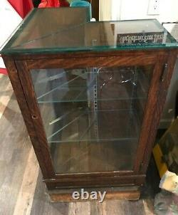 Antique Glass Corner Oak Store Display Case Cabinet LOCAL PICK UP ONLY Michigan