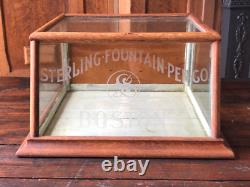 Antique Hardware Store Counter Top Glass Display Case, Sterling Fountain Pen CO