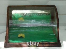 Antique J. Riswig Chicago Oak Curved Glass Showcase Country Store Display Case