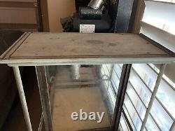 Antique Nickel Plated Over Oak Country Store Display Case