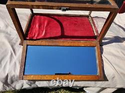 Antique Oak Curved Glass Showcase Country Store Display Case J. Riswig Chicago
