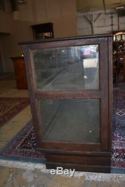 Antique Oak Glass Store Display Case, Cabinet