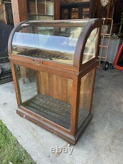 Antique Oak Oscar Onken Curved Glass Cane Case Display Country Store Original