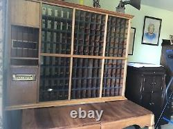Antique Post Office Box Display Case Old General Store Vintage Wood Glass Unique