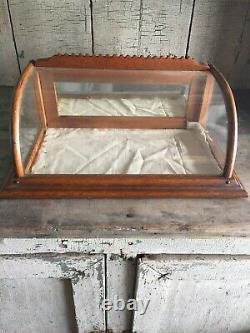 Antique Small Curved Glass Oak Display Showcase Country Store