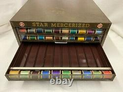 Antique Star Mercerized Sewing Cotton Thread Spool Cabinet 4 Drawer Store Case