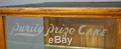 Antique Store Display Case, Purity Prize Cake, Oak & Glass, Early 20th Century