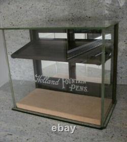 Antique Vintage John Holland Fountain Pen Wood Glass Store Display Case Rare