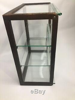 Antique Vintage Wood Oak Glass Display Case Showcase Counter Top General Store