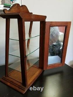 Antique ZENO Chewing Gum Oak Countertop Store Display Case, Mirrored Back