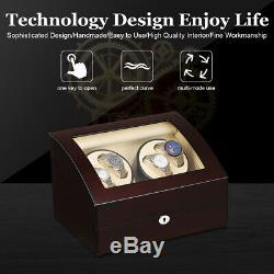 Automatic 4+6 LUXURY Watch Winder Wood Display Box Case Storage Motor Lockable