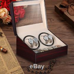 Automatic Rotation 4+6 Slot Wood Watch Winder Storage Box Display Case Organizer