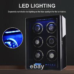 Automatic Watch Winder for 6 Watches Display Storage Case Box with Quiet Motor