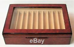 Beautiful VENLO Burlwood 20 Pen Storage Glass Top Display Case