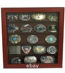 Belt Buckle 5 Row Display Case Cherry Wood Mens Accessories Storage Box