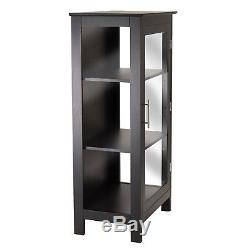 Black Glass Display Case Curio Cabinet Wood With Door Storage Shelves Modern New