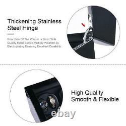 Black Leather 8+9 Automatic Rotation Watch Winder Storage Display Case Box