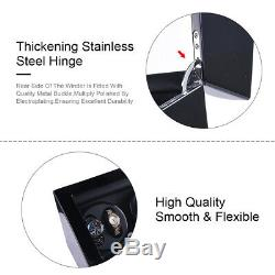 Black Leather 8+9 Automatic Rotation Watch Winder Storage Display Case Box New
