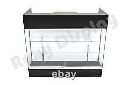 Black Ledgetop Counter Display Showcase Store Fixture Knock Down #SC-LTC-GL4BK