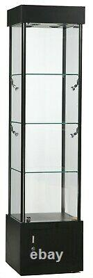 Black Tower Display Showcase with LED Lights, Lock, and Storage 72 H