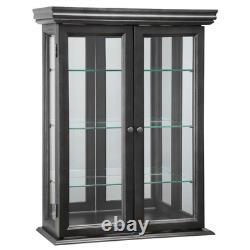 Black WALL CURIO CABINET Display Case Glass Doors & Shelves Home Storage Decor