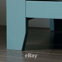 Blue Accent Storage Cabinet Display Case Glass Door Organize Shelf Stand Console