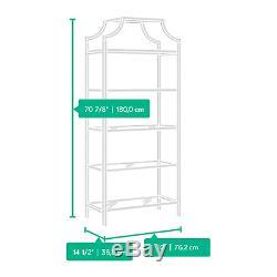 Bookcase Storage Organizer 5 Tier Tempered Glass Shelves Unique Elegant Display