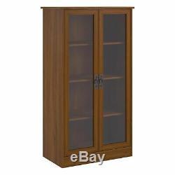 Cherry Finish Wooden Glass Door Bookcase Bookshelf Media Cabinet Display Storage