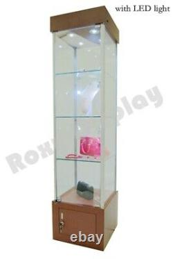 Cherry Tower Showcase Display Store Fixture Assembled With LED Lights #SC-WL18CH