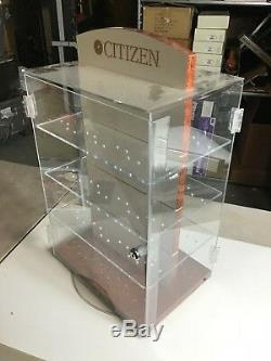 Citizen Quartz Rotating Display Stand Wrist Watch -Case Box Store Shop No Key