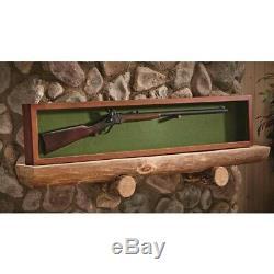 Collector Gun Sword Display Wood Case Wall Mount Storage Rifle Rack Glass Lid