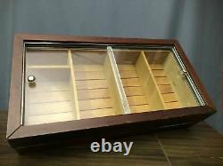 Countertop Desktop Shelf Stogie Cigar Humidor Display Sliding Door Storage Case