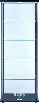 Curio Cabinet Display Case Showcase Glass Shelf Storage Doors shelves Black Art