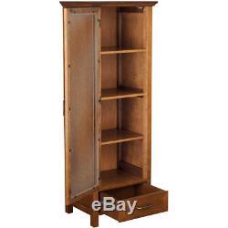 Curio Cabinet Floor Display Case Linen Storage Glass Door Drawer Oil Oak Finish