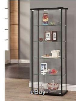 Curio Cabinet Glass Storage Display Shelf Case Corner Wall Shelve Wood Furniture