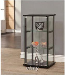 Curio Case Cabinet With Glass Doors Display Shelves Storage Shelving Black Frame