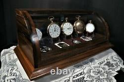 Curved glass solid walnut display case with display tray plus storage