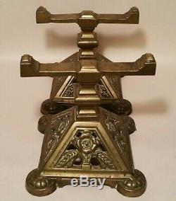 DISPLAY CASE glass shelf riser department store antique cast iron bronze vtg art