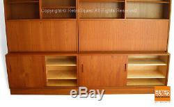 Danish Modern Teak Desk Storage Credenza Wall Unit Display Book Case Hundevad
