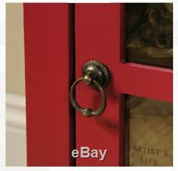Deep Red Floor Cabinet Curio Case Display Storage Shelf Glass Door Bath Accent