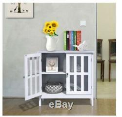 Display Cabinet Glass Wood Storage Shelf Case Cupboard Kitchen Accent White NEW