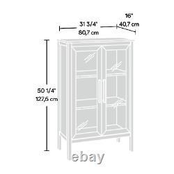 Display Cabinet Storage Curio Case China Wood Glass Shelves Modern Farmhouse NEW