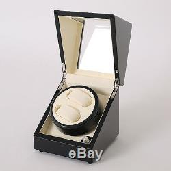 Double Black Wood Watch Winder Storage Display 2 Case Box Automatic Rotation
