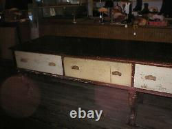 Early Antique Dry Goods Table Fabric Store Display 11' Counter queen anne style