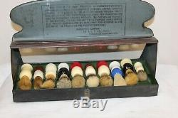 Early Original Rubberset Shaving Brushes Tin Advertising Store Display Case