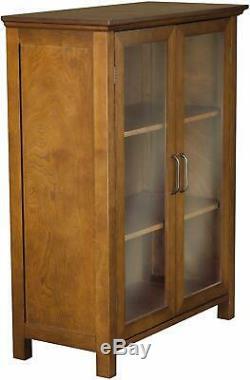 Elegant Floor Cabinet Curio Case Display Storage Shelf Box 2 Glass Doors Display