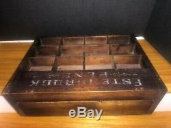 Esterbrooks Pens wooden Store Display Case for Esterbrooks Steel Pens 14 W