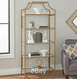 Etagere With Glass Shelves Bookshelf Bookcase Book Cases 5 Tier Storage Display